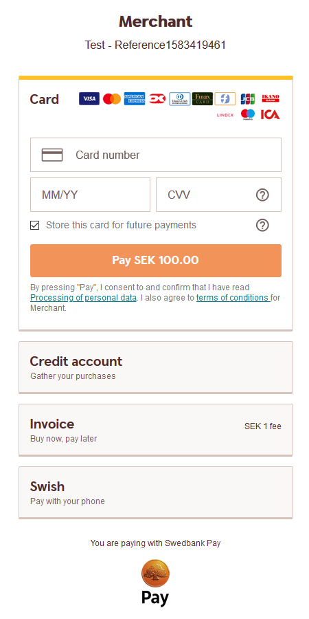 Payment Menu with payer logged in and card payment opened