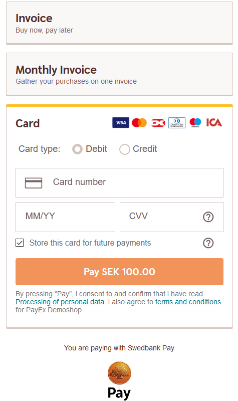 Payment Menu with swedish payer logged in and card payment opened