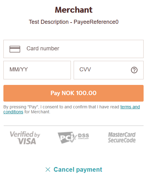screenshot of the redirect card payment page