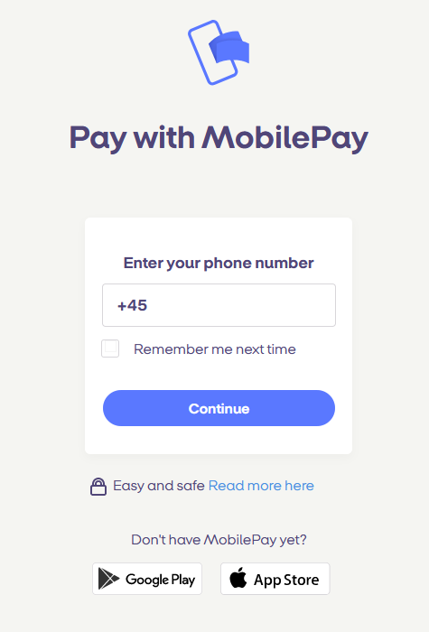 screenshot of the MobilePay Online number input page