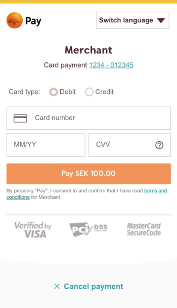 Swedish Mobile Redirect Payment Page