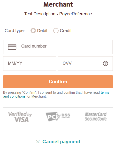 screenshot of the swedish card verification page
