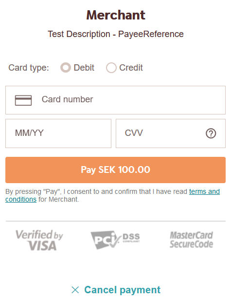 The description field as presented in  Payments