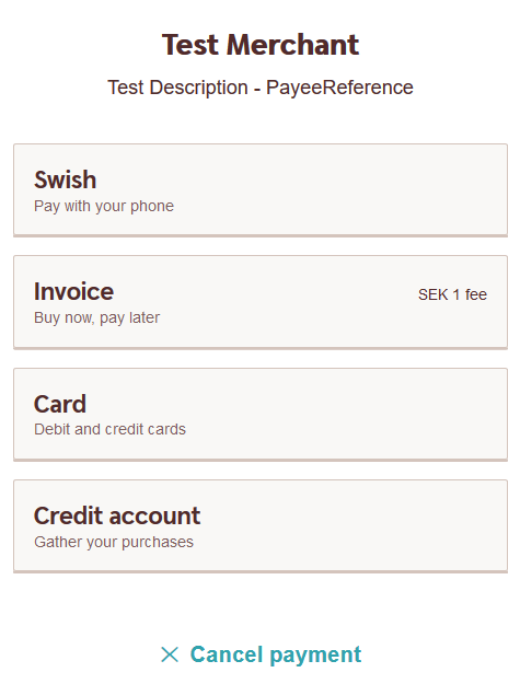 The description field as presented in the Payment Menu